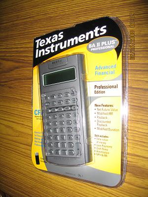 My Texas Instruments BA II PLUS PROFESSIONAL